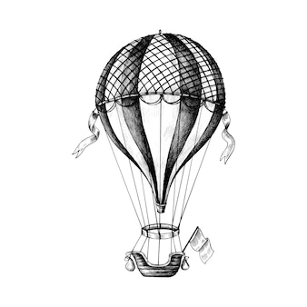 Hand drawn hot air balloon