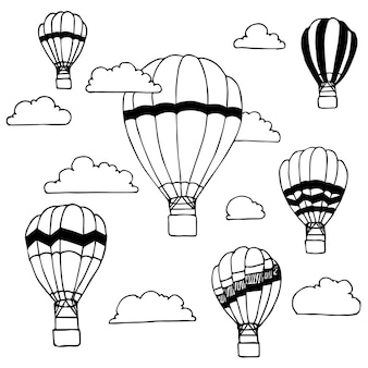 Hand drawn of hot air balloons and clouds on white background