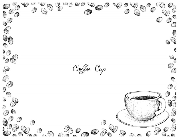 Hand drawn of hot coffee with roasted coffee beans