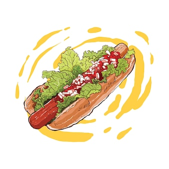肉と野菜のフィリングと手描きのホットドッグ