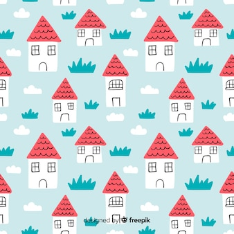 Hand drawn house doodle pattern