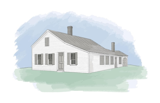手描きの家のイラストデザイン