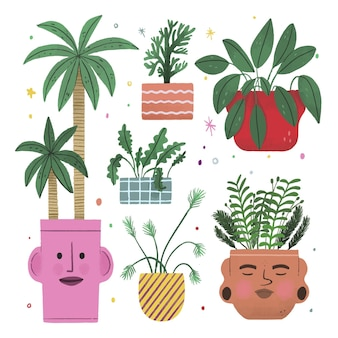 Hand drawn houseplants in pots collection