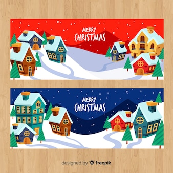 Hand drawn houses christmas town banner
