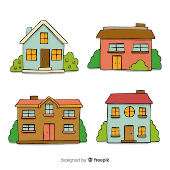 Hand drawn houses collection