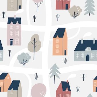 冬の手描きの家。シームレスパターン。