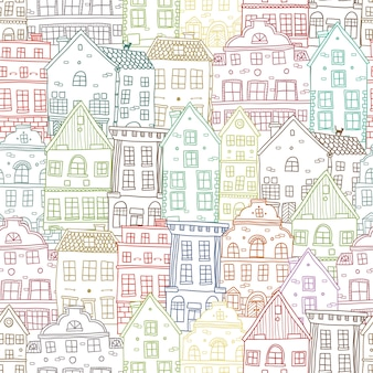 Hand drawn houses seamless pattern