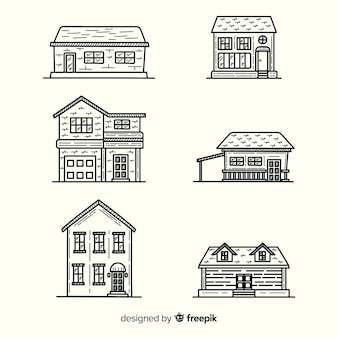 Hand drawn houses set