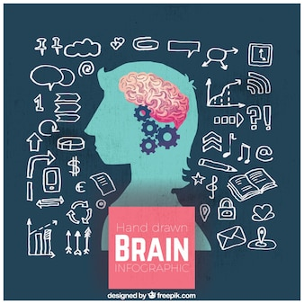 손으로 그린 인간 두뇌 infographic