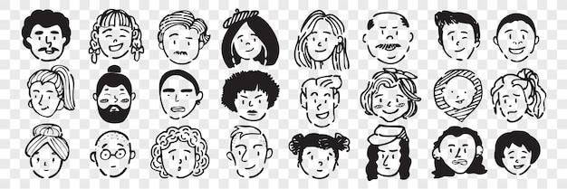 Hand drawn human faces doodle set. collection of pen ink pencil drawing sketches of young old men women boys girls facial expressions