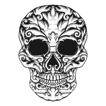 Ручной обращается человеческий череп цветочные формы. элемент для плаката, футболки. иллюстрация