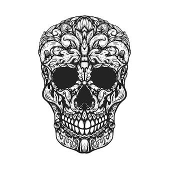 手描きの人間の頭蓋骨は花の形を作りました。ポスター、tシャツの要素。図