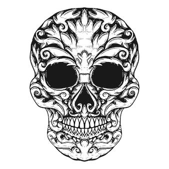 Hand drawn human skull made floral shapes.  element for poster, t shirt.  illustration