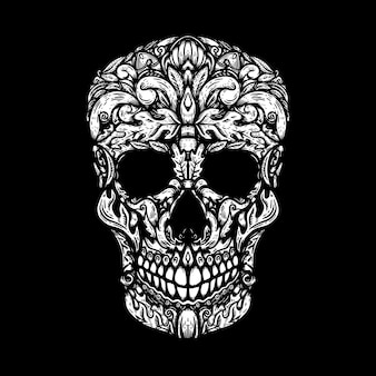 Hand drawn human skull made floral shapes
