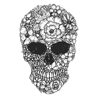 Hand drawn human skull made from flowers. botany cranium.