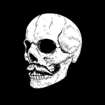 어두운 배경에 손으로 그린 인간의 두개골. 로고, 레이블, 기호, 핀, 포스터, 티셔츠 디자인 요소입니다. 벡터 일러스트 레이 션