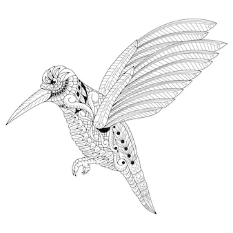 Hand drawn of humming bird in zentangle style
