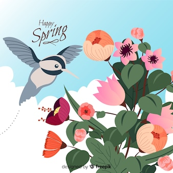 Hand drawn hummingbird spring background