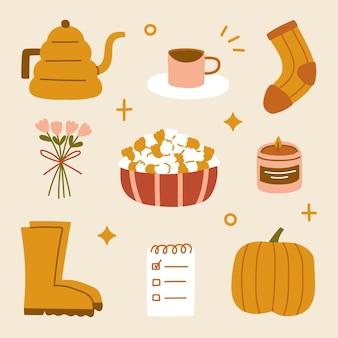 손으로 그린 hygge 가을 집 아늑한 요소 스칸디나비아 스타일 모카 냄비 커피 양말 꽃다발 팝콘 참고 부츠와 호박 스티커
