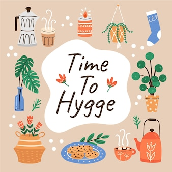 Hand drawn hygge concept with elements