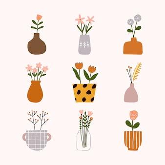 손으로 그린 hygge 스칸디나비아 꽃 냄비, 꽃병, 주전자 또는 꽃다발과 항아리 병.