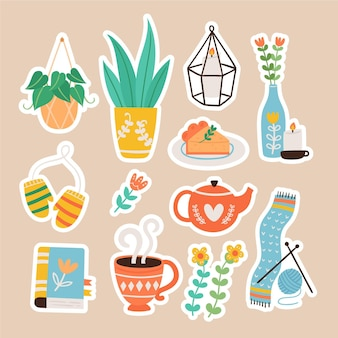 Hand drawn hygge stickers collection