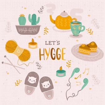 Hand drawn hygge stickers