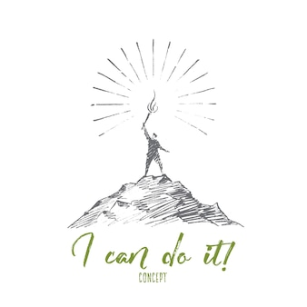 Hand drawn i can do it concept sketch