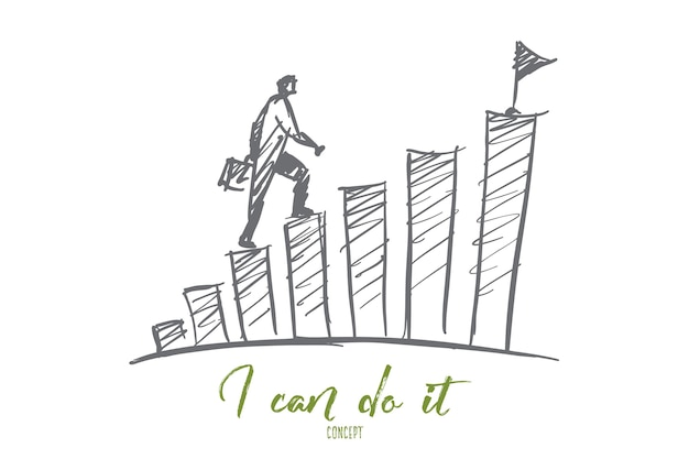 Hand drawn i can do it motivational concept sketch