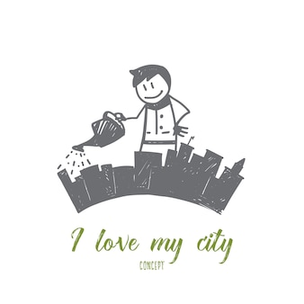 手描き私は私の都市のコンセプトスケッチが大好きです
