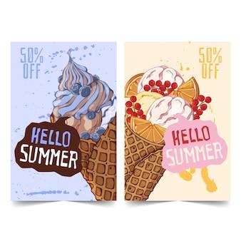 손으로 그린 아이스크림 배너 프리미엄 벡터