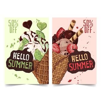 Hand drawn ice cream banners