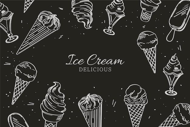 Hand drawn ice cream blackboard background