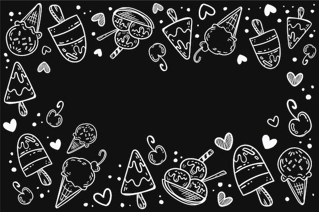 손으로 그린 아이스크림 칠판 배경