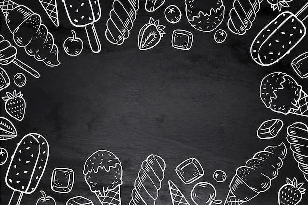 手描きのアイスクリーム黒板背景