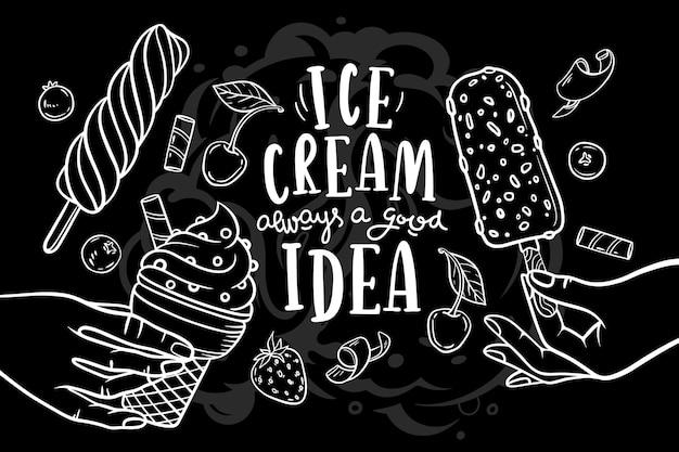 Fondo disegnato a mano della lavagna del gelato