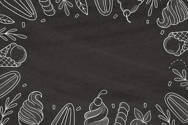 手描きのアイスクリーム黒板の背景