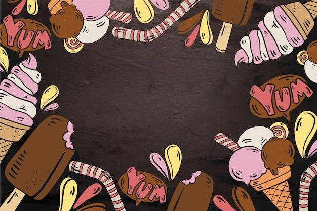 手描きのアイスクリームの黒板の背景