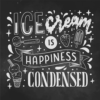 손으로 그린 아이스크림 칠판 글자