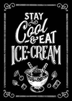 Рисованной надписи на доске мороженого