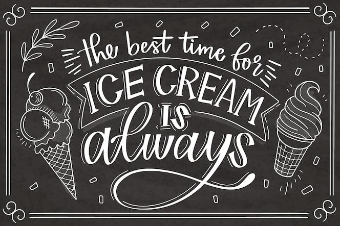 Lettering lavagna gelato disegnato a mano
