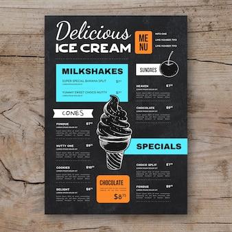 Hand drawn ice cream blackboard menu template