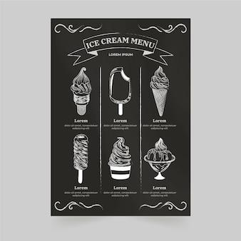 手描きのアイスクリーム黒板メニューテンプレート