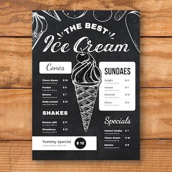 Рисованное меню доски мороженого