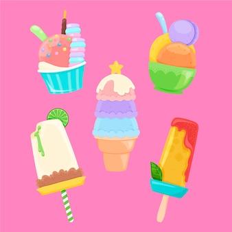 손으로 그린 아이스크림 컬렉션