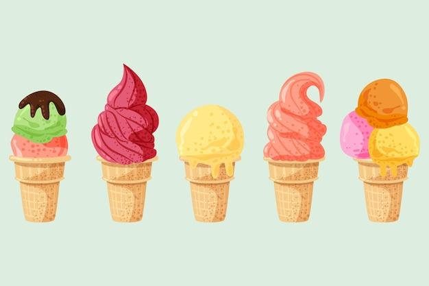 手描きのアイスクリームコレクション