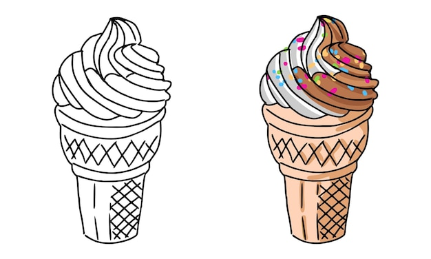 Hand drawn ice cream coloring page for kids