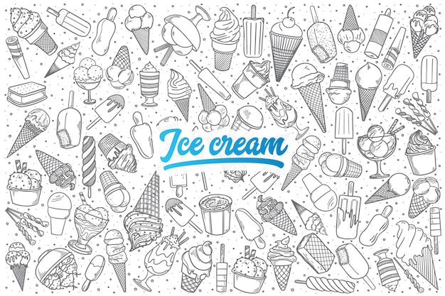 Hand drawn ice cream doodle set background with blue lettering