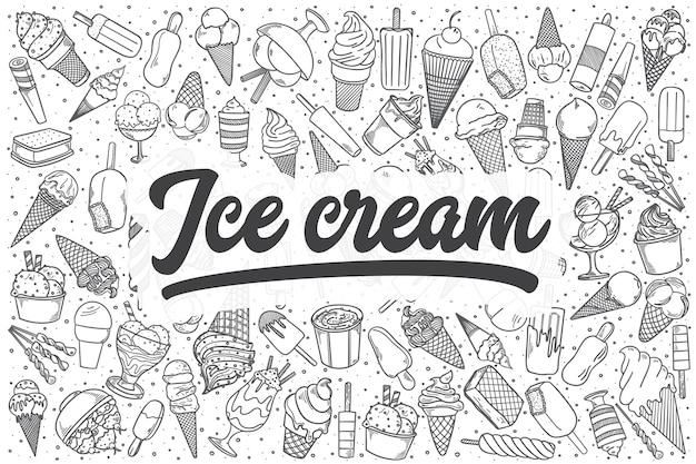 손으로 그린 아이스크림 낙서 세트. 레터링-아이스크림