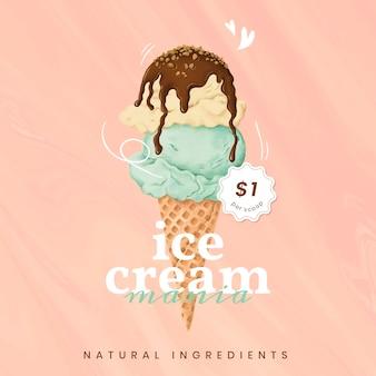 Ручной обращается шаблон рекламы мороженого в instagram